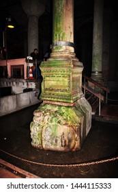 Istanbul / Turkey - 31 Oct 2014: Gorgon in Basilica cistern in Istanbul, Turkey