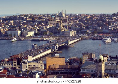 ISTANBUL, TURKEY - 4  JUNE  2016: Sunset panorama of the city of Istanbul from Galata Tower