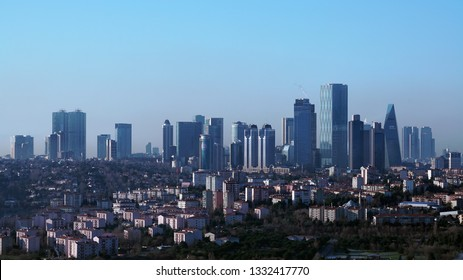 Istanbul, Turkey - 4 March, 2019:  Skyscrapers and modern office buildings at Levent District.