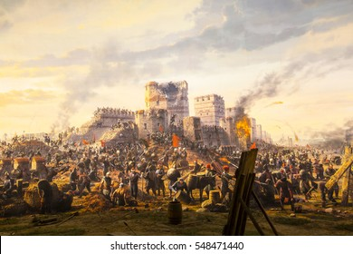 ISTANBUL, TURKEY - 6 JUNE , 2016:Fall of Constantinople in 1453. Captured by Mehmet. Panorama Museum 1453, Istanbul, Turke