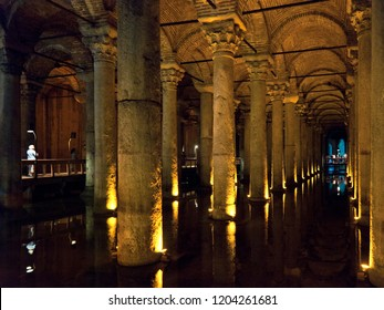 Istanbul, Turkey - 6/8/15: Interior of historical and ancient mosque and cathedral and museum the Hagia Sofia during interior renovations. Underground in the Basilica Cistern with pillars.