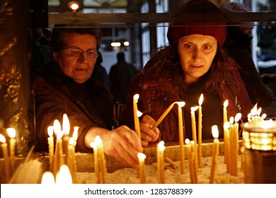 Istanbul, Turkey. 6th January 2019. Worshipers take part in celebrations of Epiphany Day celebrations.