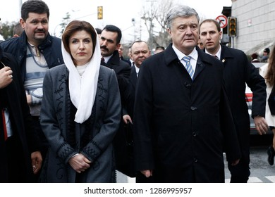 Istanbul, Turkey. 6th January 2019. Ukrainian President Petro Poroshenko attends in celebrations for Epiphany Day in St. George's Cathedral.