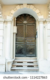 Istanbul, Turkey, 8 June 2018: Old black door, Pera Yuksek Kaldirim, Karakoy Beyoglu district of Istanbul.
