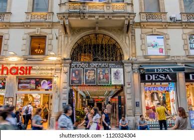 Istanbul, Turkey, 8 June 2018: Istiklal Avenue, Beyoglu district of Istanbul.
