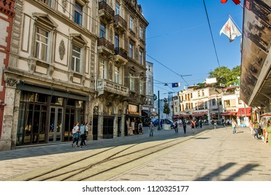 Istanbul, Turkey, 8 June 2018: Tunnel buildings, Istiklal Avenue, Beyoglu district of Istanbul.