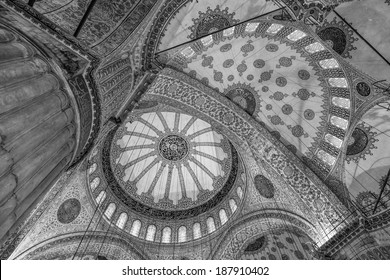 ISTANBUL, TURKEY - 9th of April 2014: Interior of a Sultanahmet Mosque mosque  (Blue Mosque) on 9th of April 2014 in ISTANBUL, TURKEY