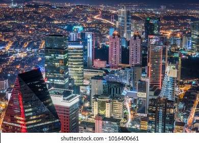 Istanbul, Turkey. Aerial view of the city downtown and skyscrapers. Skyscrapers and modern office buildings at Levent District. With Bosphorus background.