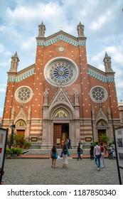 ISTANBUL, TURKEY – Agust  11, 2018: Saint Antoine Church on Istiklal Street in Taksim, Beyoglu,  Istanbul. Turkey.
