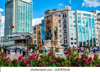 ISTANBUL, TURKEY – Agust  11, 2018: Taksim square. Taksim Istiklal Street is a popular destination in Istanbul. Beyoglu, Taksim, Istanbul. Turkey.