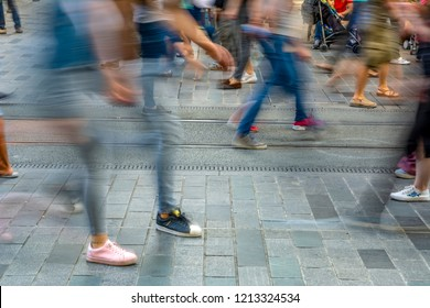 ISTANBUL, TURKEY – Agust  11, 2018:  Long exposure or slow shutter speed and blurred image: Unidentified people walk at Istiklal street,popular destination in Istanbul,Turkey.