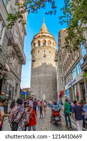 ISTANBUL, TURKEY – AGUST 11, 2018:  Galata Tower and the street in the Old Town of Istanbul, Turkey