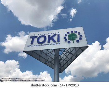 ISTANBUL - TURKEY - Agust  5,2019: Housing Development Administration (TOKI) Sign.  TOKI is an institution that produces housing projects