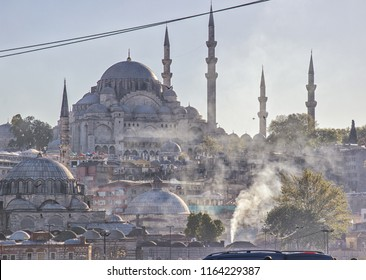 ISTANBUL, TURKEY, APR 16, 2016 - Cars and industry create a heavy smog layer in Istanbul, showing the Blue Mosque in a haze