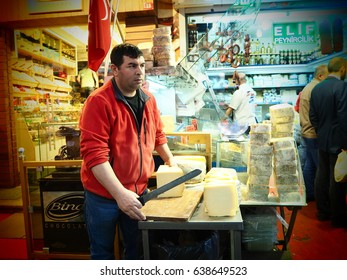 Istanbul, Turkey, Apr 21: a man at work selling traditional Turkish cheese in the market on April 21, 2016 at Grand Bazaar, Istanbul, Turkey.