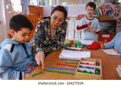 ISTANBUL, TURKEY - APR 21: Turkish nursery school students in the classroom on April  21, 2006 in Istanbul, Turkey.