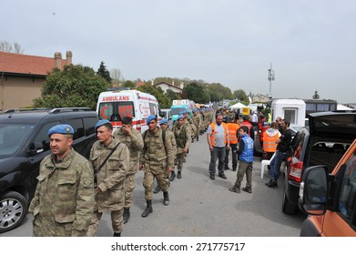 ISTANBUL, TURKEY - APR   5 : The search and rescue team work to find missed child in the forest. Soldiers also attended to the team  on April   5, 2014 in Istanbul, Turkey