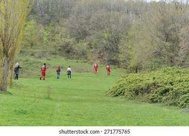 ISTANBUL, TURKEY - APR   5 : The search and rescue team work to find missed child in the forest  on April   5, 2014 in Istanbul, Turkey