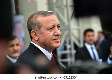 ISTANBUL, TURKEY- APR 9: Turkey President Recep Tayyip Erdogan attend the meeting  on April 9,2016 in Istanbul, Turkey.