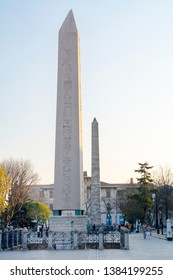 Istanbul Turkey – April 05, 2019:  Obelisk of Theodosius or Egyptian Obelisk in ancient Hippodrome near Sultanahmet,Blue Mosque in Istanbul, Turkey