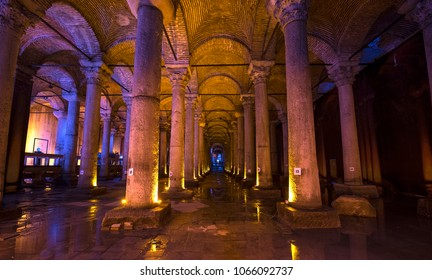 Istanbul, Turkey - April 08, 2018. Underground Basilica Cistern (Yerebatan Sarnici), one of the largest ancient cisterns that lie beneath the city Istanbul, was built in the 6th century