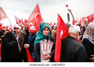 ISTANBUL, TURKEY - APRIL 08 : Big rally for a referendum in istanbul on April 08, 2017 in Istanbul, Turkey.