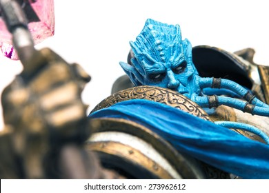 Istanbul, Turkey - April 09, 2015: Draenei characters from the world of warcraft game. Action figures. 2007 Dc Unilimited, Dc Comics and Blizzard Entertainment, Inc. All Right Reserved.