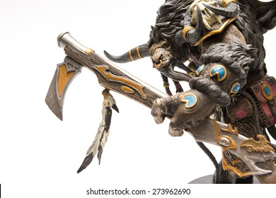 Istanbul, Turkey - April 09, 2015: Tauren characters from the world of warcraft game. Action figures. 2007 Dc Unilimited, Dc Comics and Blizzard Entertainment, Inc. All Right Reserved.
