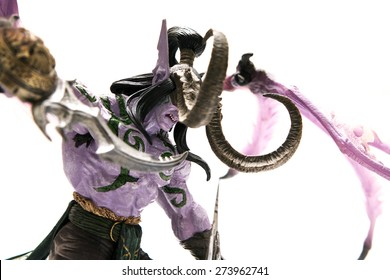 Istanbul, Turkey - April 09, 2015: Illidan Stormrage characters from the world of warcraft game. Action figures. 2007 Dc Unilimited, Dc Comics and Blizzard Entertainment, Inc. All Right Reserved.