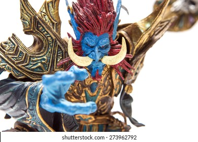 Istanbul, Turkey - April 09, 2015: Troll characters from the world of warcraft game. Action figures. 2007 Dc Unilimited, Dc Comics and Blizzard Entertainment, Inc. All Right Reserved.