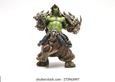 Istanbul, Turkey - April 09, 2015: Orc characters from the world of warcraft game. Action figures. 2007 Dc Unilimited, Dc Comics and Blizzard Entertainment, Inc. All Right Reserved.