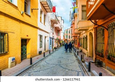 Istanbul, Turkey - April 09, 2017 : Balat district street view in Istanbul. Balat is popular tourist attraction in Istanbul, Turkey.