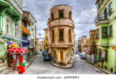 Istanbul, Turkey - April 09, 2017 : Balat district streets HDR view in Istanbul. Balat is popular tourist attraction in Istanbul, Turkey.