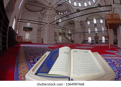 Istanbul, Turkey - April 09, 2019: The Qur'an is the main book of Islamic religion. Islamic law is founded and Muslims read various sections from the Qur'an in their worship