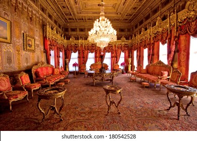 ISTANBUL, TURKEY - April 1, 2013 - Dolmabahce Palace: interior: furniture was from Paris, vases from Sevr, canslesticks from England; silk handmade carpets are from royal workshop in Hereke.
