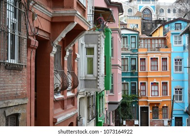 ISTANBUL, TURKEY - APRIL 1, 2018: Colorful houses of Balat on a cloudy spring day