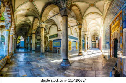 Istanbul, Turkey - April 10, 2017 : People are visiting Topkapi Palace. Topkapi Palace is popular tourist attraction in the Turkey.
