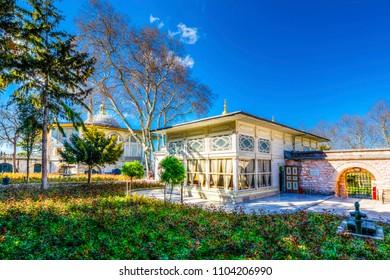 Istanbul, Turkey - April 10, 2017 : The Mustafa Pasha Pavilion view in Topkapi Palace. Topkapi Palace is popular tourist attraction in Turkey.,