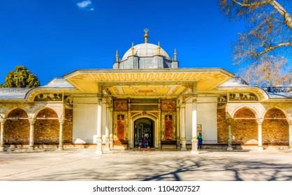 Istanbul, Turkey - April 10, 2017 : People are visiting The gate of felicity in Topkapi Palace. Topkapi Palace is populer tourist attraction in the Turkey.