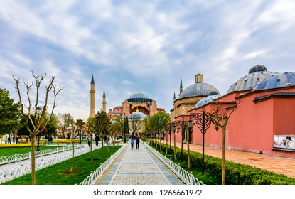 Istanbul, Turkey - April 10, 2017 : People are visiting The Sultanahmet Square. Sultanahmet is popular tourist attraction in the Turkey.