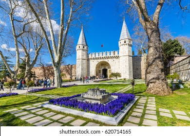 Istanbul, Turkey - April 10, 2017 : People are visiting The gate of Salutation in Topkapi Palace. Topkapi Palace is popular tourist attraction in the Turkey.