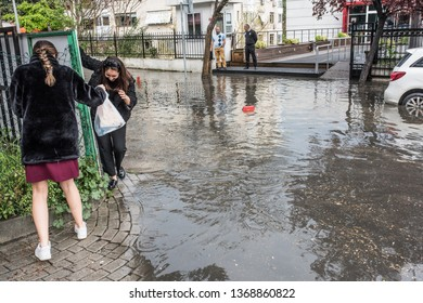 ISTANBUL, TURKEY - APRIL 11, 2019: Rainy and stormy day in Istanbul