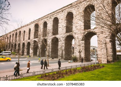 ISTANBUL, TURKEY: APRIL 12 - 2011. The historical aqueduct of Valens.