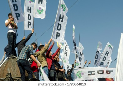 Istanbul, Turkey. April 12th 2015Kurdish supporters of the HDP party at a political rally in Kadikoy, Istanbul, Turkey.