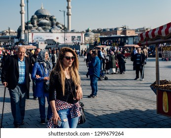 Istanbul, Turkey - April 13, 2018: Sultanahmet Square, people and the Blue Mosque on April 13, 2018 in Istanbul, Turkey.