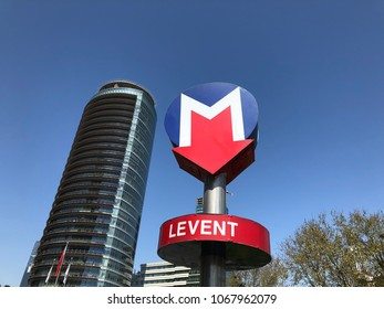 ISTANBUL, TURKEY - APRIL 13: Metro sign at Levent where is the most busy station during work hours in Istanbul, Turkey.