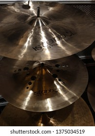 Istanbul, Turkey - April 14 2019 : Famous Istanbul Agop Cymbals which is an international Turkish Brand in a store.