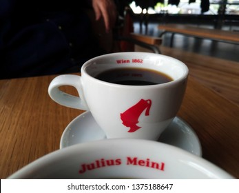 Istanbul, Turkey - April 14 2019 : A cup of filter coffee by Julius Meinl on the table.