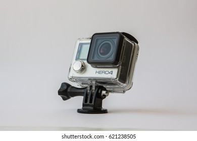 Istanbul, Turkey - April 14: Studio shot of GoPro Hero 4 Black on April 14, 2017. It is a compact, lightweight personal camera manufactured by GoPro Inc.