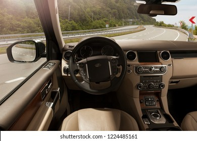 Istanbul, Turkey - April 15, 2016: The Land Rover Sport was prefigured by the Range Stormer concept car, introduced at the 2004 North American International Auto Show. Land Rover Sport dashboard.